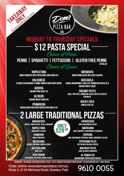 Dom's Pizza_Pizza & Pasta_Poster_Monday-Thursday_V2